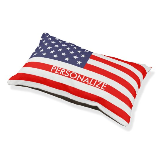 Custom patriotic American flag dog bed for pets
