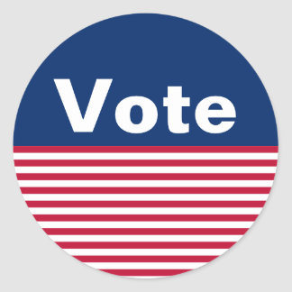 Custom Patriotic Red White and Blue Vote Stickers