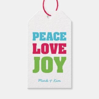 Custom Peace Love & Joy Pack Of Gift Tags