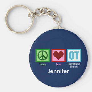 Custom Peace Love Occupational Therapy Basic Round Button Keychain