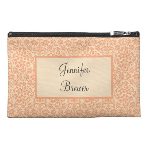 Custom Peach Damask Accessory, Coin or Makeup Bag Travel Accessory Bag