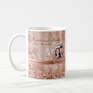 Custom Peach Floral Photo Wedding Mug Favor