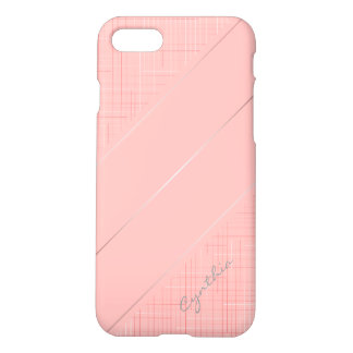 Custom Peach Pink Line Pattern iPhone Matte Case