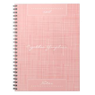 Custom Peach Pink Line Pattern Spiral Notebook