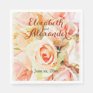 Custom Peach Watercolor Roses Wedding Paper Napkins