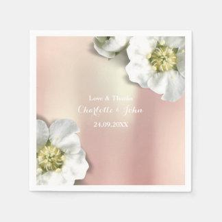 Custom Pearly Rose Gold Metallic Floral White Napkin