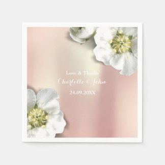Custom Pearly Rose Gold Metallic Floral White Paper Napkins