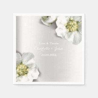 Custom Pearly White Gray Silver Metallic Floral Paper Napkin