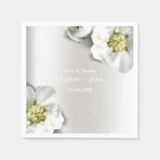 Custom Pearly White Gray Silver Metallic Floral Paper Napkins