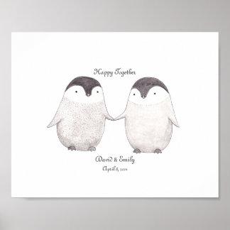 Custom Penguin Poster Cute Penguins Art for Couple