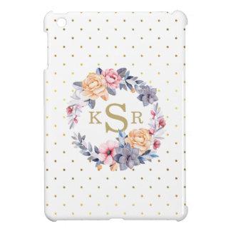 Custom Peonies Floral Wreath Monogram Initials Case For The iPad Mini
