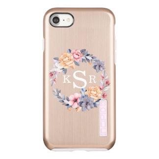 Custom Peonies Floral Wreath Monogram Initials Incipio DualPro Shine iPhone 8/7 Case