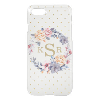 Custom Peonies Floral Wreath Monogram Initials iPhone 8/7 Case