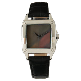 Custom Perfect Square black Leather watch w/color