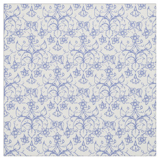 Custom Periwinkle Blue on White Decorative Floral Fabric