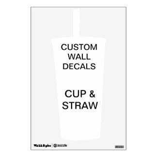 """Custom Personalized 18""""x12"""" CUP & STRAW Wall Decal"""
