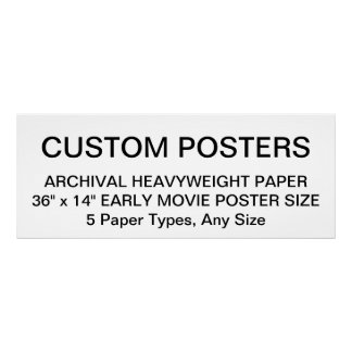 "Custom Personalized 36""x14"" Archival Paper Poster"