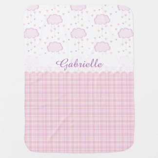 Custom Personalized Baby Name Pink Clouds Baby Blankets