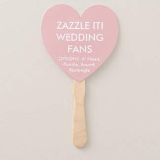Custom Personalized BABY PINK HEART WEDDING FANS