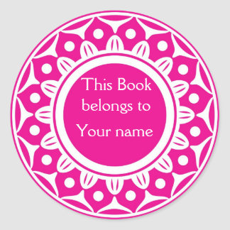 Custom Personalized Bookplates - Pink And White Classic Round Sticker
