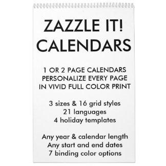 Custom Personalized Calendar Blank Template