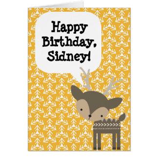 Custom Personalized Children's Birthday Card Deer