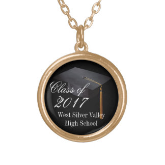 Custom Personalized Class of 2017 Graduation Gold Plated Necklace