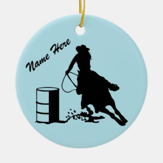 Custom Personalized Cowgirl Barrel Racer Ceramic Ornament