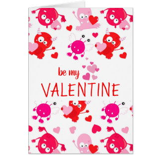 Custom Personalized Cute Monster Valentine's Day Card