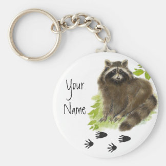 Custom, Personalized Cute Raccoon Tracks Basic Round Button Keychain