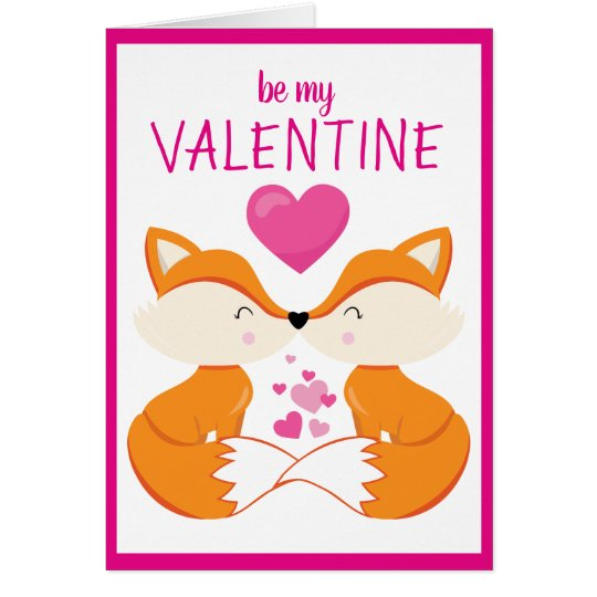 Custom Personalized Fox Heart Valentine's Day Card