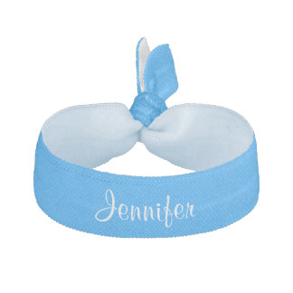 Custom personalized girls name blue hair tie