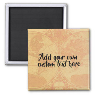 Custom personalized map 'Add your own text' Magnet