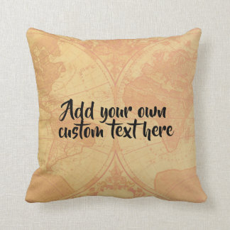 Custom personalized map 'Add your own text' Throw Pillow
