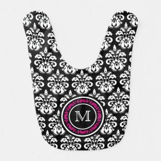 Custom personalized monogram vintage damask baby bib