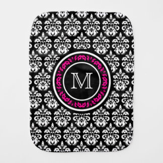 Custom personalized monogram vintage damask burp cloths