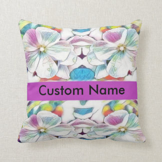 custom personalized name floral throw pillow