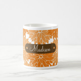 Custom Personalized Name Orange Flower Blossoms Coffee Mug