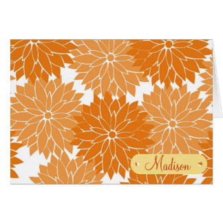Custom Personalized Name Orange Flower Blossoms Note Card