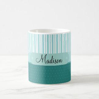 Custom Personalized Name Teal Stripes Polka Dots Coffee Mug
