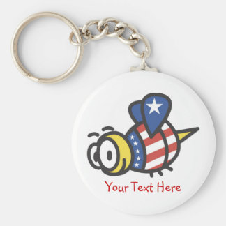 Custom Personalized Patriotic Bumble Bee Keychains