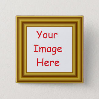 Custom Personalized Picture & Gold Frame Printed 2 Inch Square Button
