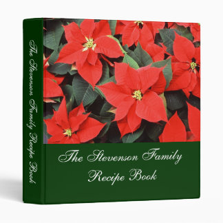 Custom Personalized Pointsettia Recipe Book Binder