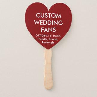 Custom Personalized RED HEART WEDDING FANS