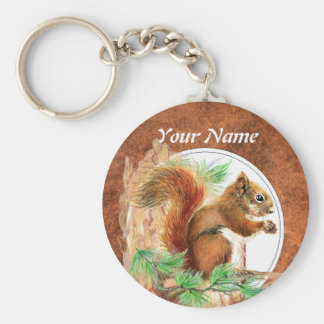 Custom, Personalized Squirrel, Nature, Animal Keychain
