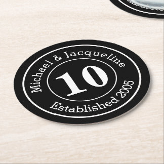 Custom Personalized Wedding Anniversary 10th Round Paper Coaster