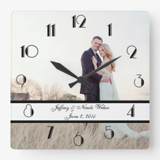 Custom Personalized Wedding Gift Square Wall Clock