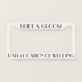 Custom Personalized Wedding License Plate Frame