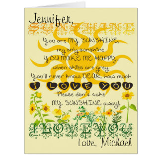 Custom Personalized You Are My Sunshine Card