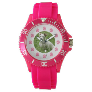 Custom Pet Photo Watch - Pink Paw Prints